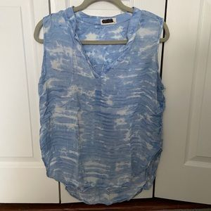 Blue and white tie dye tank
